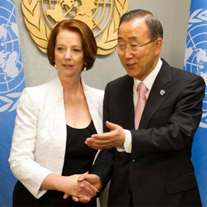 Australian Prime Minister, Julie Gillard with the UN Secretary-General, Ban Ki-moon