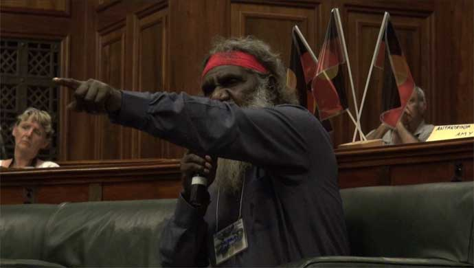 Lawman Murray George (APY Lands), makes a point at the gathering in Old Parliament House