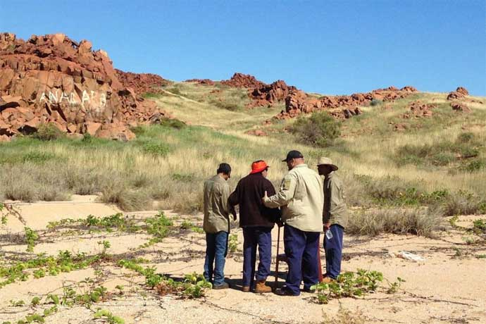 Pic: Aboriginal elders and rangers are devastated by the vandalism at Burrup