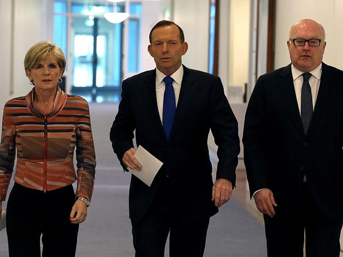 'Cap in hand', Tony Abbott leads the mottly crew to the media slaughter house on Tuesday