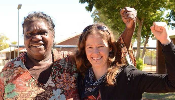 Traditional Owner Dianne Stokes receives the good news from Nat Walsley, a campaigner with the Beyond Nuclear Initiative.<br />