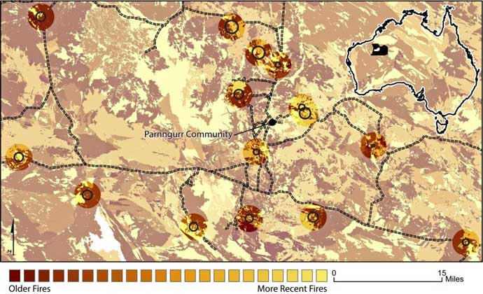 Map shows an area of western Australia burned to improve kangaroo poulations