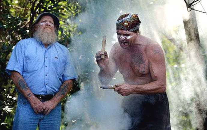 Michael Ryan, left, and Burrell Jakamarra at a smoking ceremony in North Lismore to mark opposition to the North Lismore plateau development.