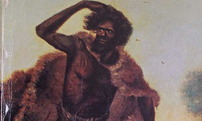 A picture of OnYong, the last full-blood man of the Ngambri people of the Limestone Plains. He died at the end of a rival's spear. Settlers dug him up and fashioned a sugar bowl from his skull.<br>(By TY Balcombe, circa 1850, Mitchell Library)