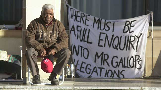 The late Elder Robert Bropho outside Western Australia's State Parliament - Image, www.perthnow.com.au