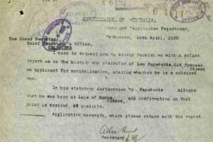 Leo Papadakis document in the National Archives of Australia