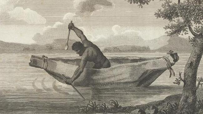Pemulwuy Pimbloy: Native of New Holland in a canoe of that country