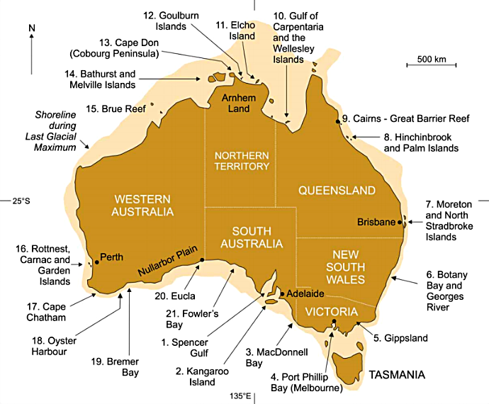Map of Australia showing the 21 coastal locations from which Aboriginal stories about coastal inundation are described in the Australian Geographer paper;