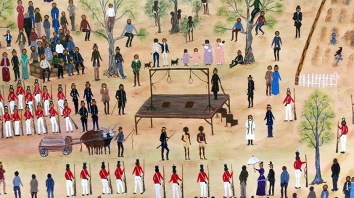 Ballarat indigenous artist Aunty Marlene's depiction of the 1842 hanging. Photo: City of Melbourne