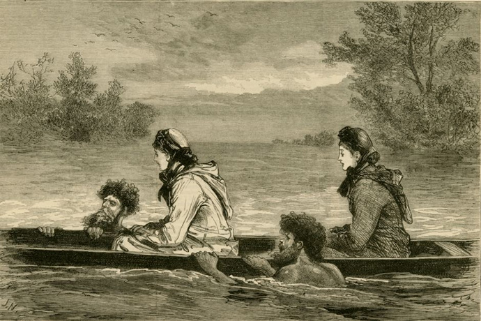 First Nations people using Canoes used to transport settlers on the Loddon