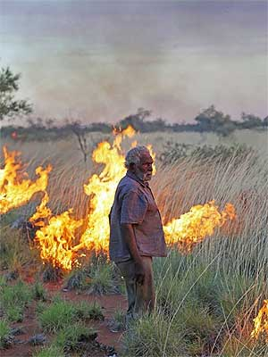 Traditional owner Joe Jangala Bird at a prescribed burn near the Kurlpurlunu rain-making
