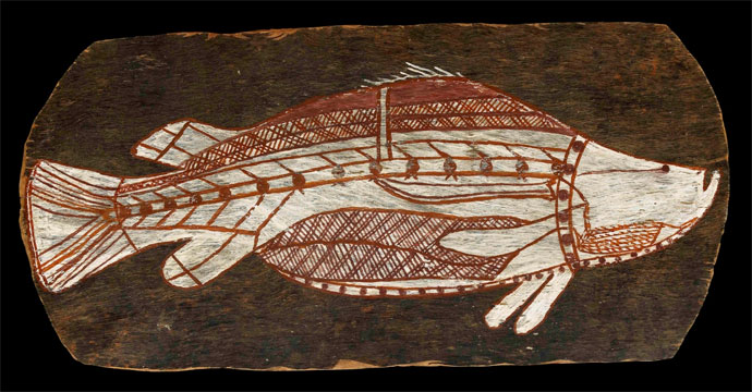 Bark painting of a barramundi, c.1961