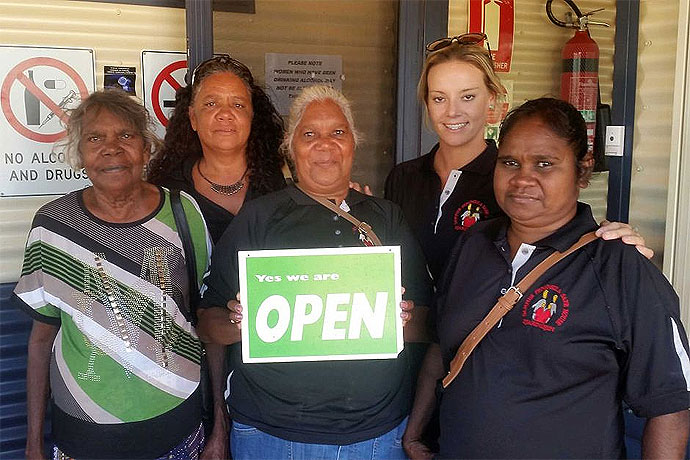 Yvonne Sampi (centre) with the women who help run the Djarindjin Safe house in the Kimberley