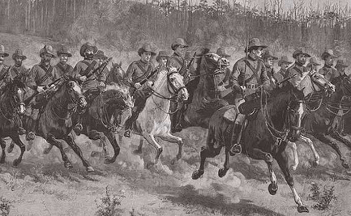 A company of the Victorian Mounted Rifles on manoeuvres in Victoria in 1889.