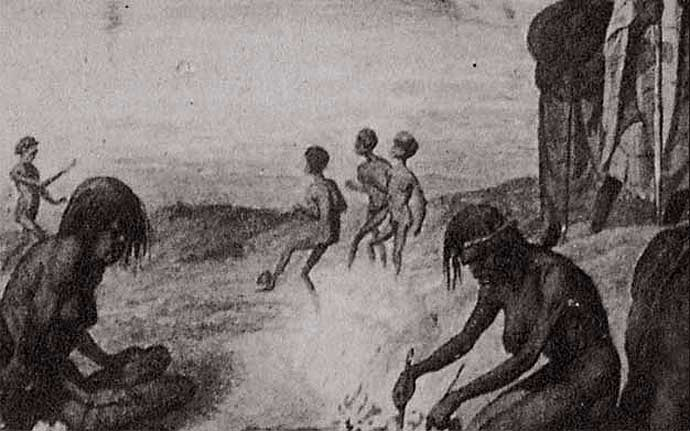Young Aboriginal people playing what is believed to be Marngrook, now known as AFL Football