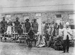 ca. 1890-1900 - Prisoners probably gathered for work detail