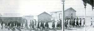An Aboriginal chain gang, about 1900, going to work at Wyndham