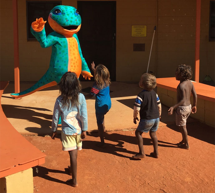 Milpa the Trachoma Goanna mascot features in the materials and is involved in community activities