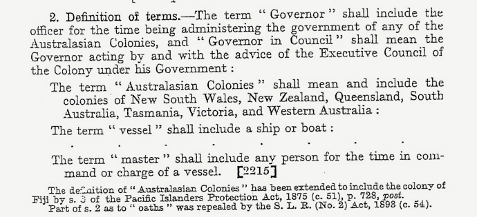 Pacific Islands Protection Act 1875 - Definitions