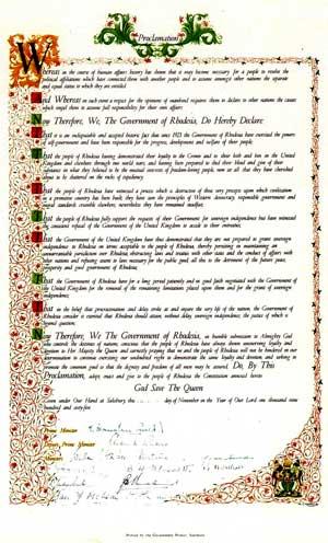 The Unilateral Declaration of Independence - Rhodesia - Zimbabwe