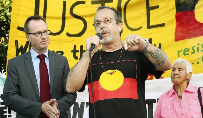 Greens MP David Shoebridge, Aboriginal activist Ken Canning and Aboriginal Elder Aunty Norma Simms