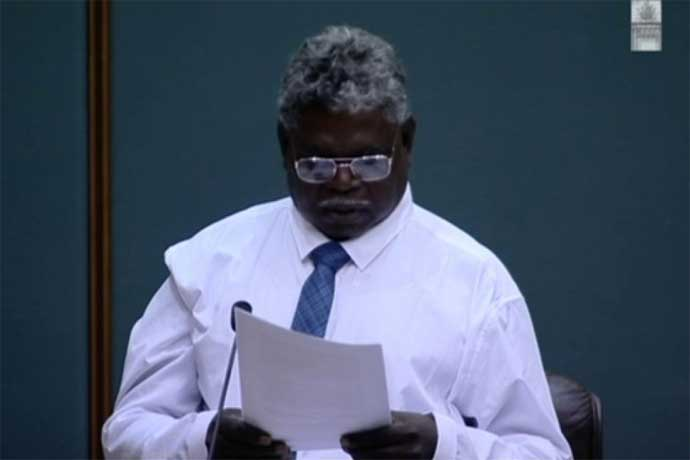Independent Member of Nhulunbuy, Yingiya Mark Guyula, reading his maiden speech. Northern Territory Government 2016