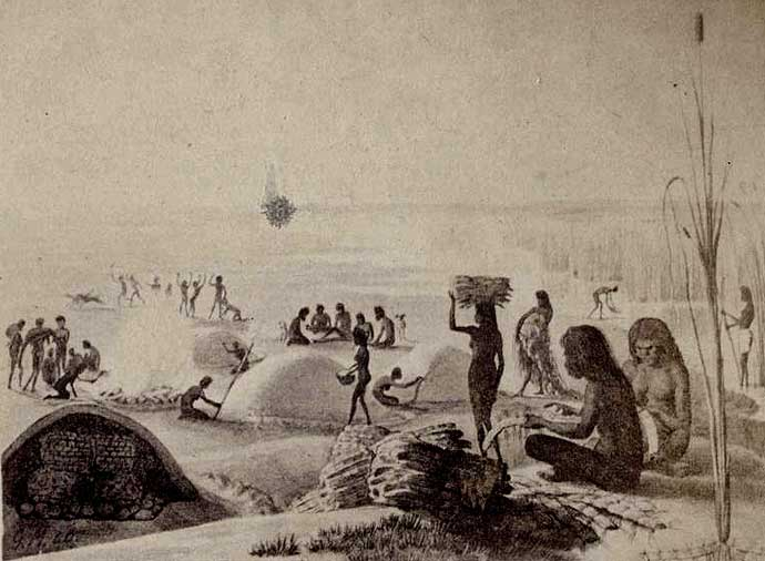 Sketch by explorer Wilhelm von Blandowski c1849-1859 - Murray Darling region