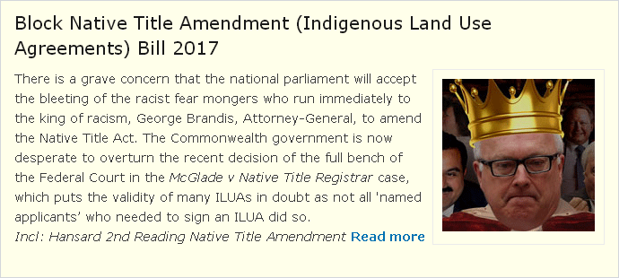 Block Native Title Ammendment ILUA's