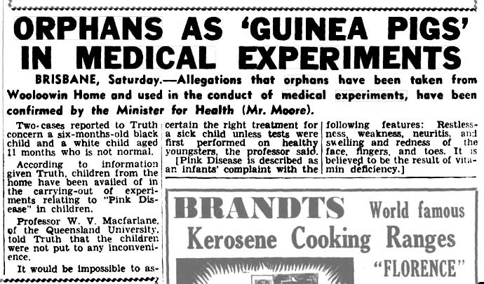 ORPHANS AS 'GUINEA PIGS' IN MEDICAL EXPERIMENTS