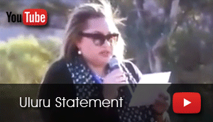 Megan Davis from the Referendum Council reads the statement from the Uluru meeting.