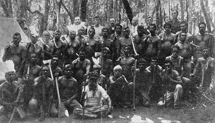 Gathering of men from Barambah Mission Station