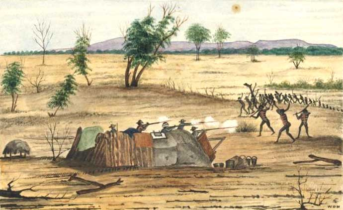 Bulla c1861 conflict Settlers under attack from a First Nations tribe