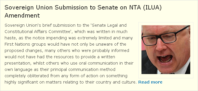 Sovereign Union Submission to Senate on NTA (ILUA) Amendment