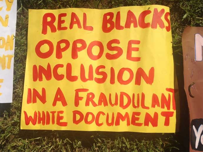 Real Blacks oppose inclusion in a fraudulent white document