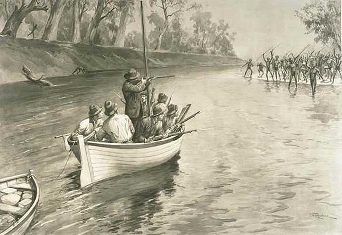 Charles Sturt's party being 'threatened by blacks' (sic) at the junction of the Murray and Darling, 1830