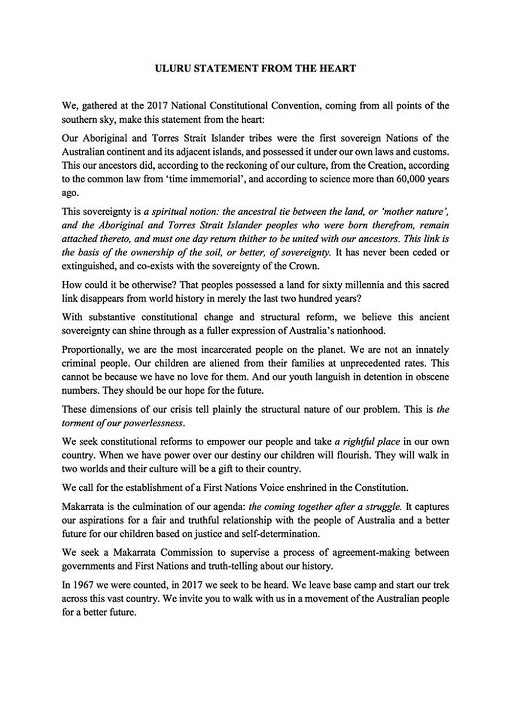 uluru statement from the heart u0027 wording and video reading