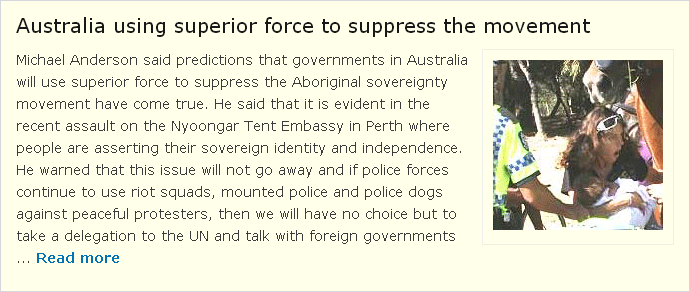 Australia using superior force to suppress the movement