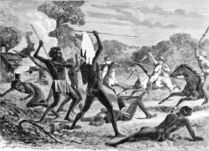 Aborigines and white settlers in battle