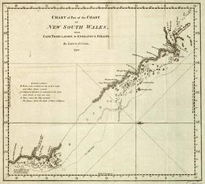 Cape Tribulation to Endeavour Straits<br>Map by Lieutenant J Cook