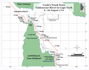 Cook's track from Endeavour River to Cape York