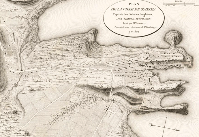 A map dating from 1802 by Francois Peron showing the streets and houses of the British colonists in Sydney.<