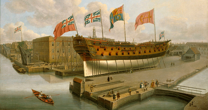 HMS Buckingham, Phillip's first posting after joining the Navy in 1755.
