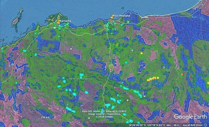 Current mining tenements in Pilbara, Western Australia