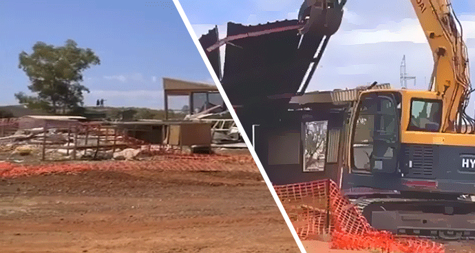 Demolishing First Nations peoples houses in the Pilbara