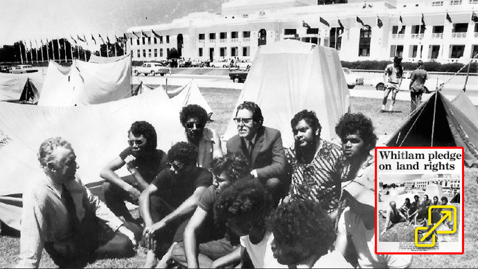 Gough Whitland and Mr Enderby sit on the lawn opposite Parliament House in Canberra and talks with some of the Aboriginals