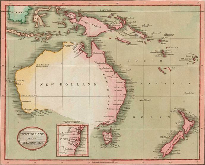 Early 19th century map of Australia and New Zealand