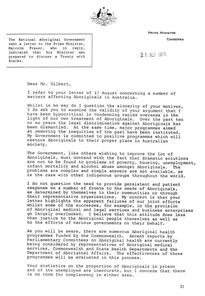 Treaty Letter from Prime Minister Malcolm Turnbull, page 1