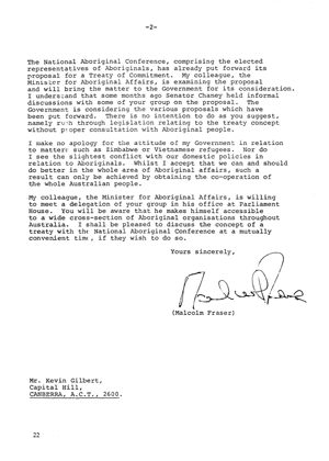 Treaty Letter from Prime Minister Malcolm Turnbull, page 2