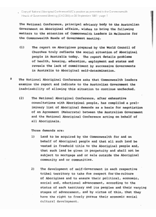 National Aboriginal Conference - Treaty Demands 1981 - Page 1