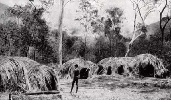 A.A. White, Village is in a woodland not far from a mountainous rainforest area at Bellenden Ker in Yidinjdji country c 1904 (Lands and Peoples, The Grolier Society 1951)